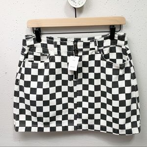 Urban Outfitters BDG Checkered Denim Skirt M NWT